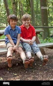Boys Showing Dirty Feet Barefoot Trail Egestorf