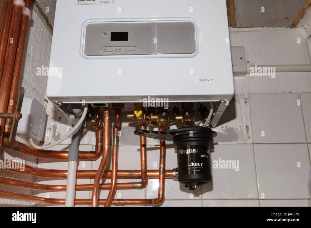 medium resolution of domestic gas combi boiler and pipework installed in an english home uk stock image