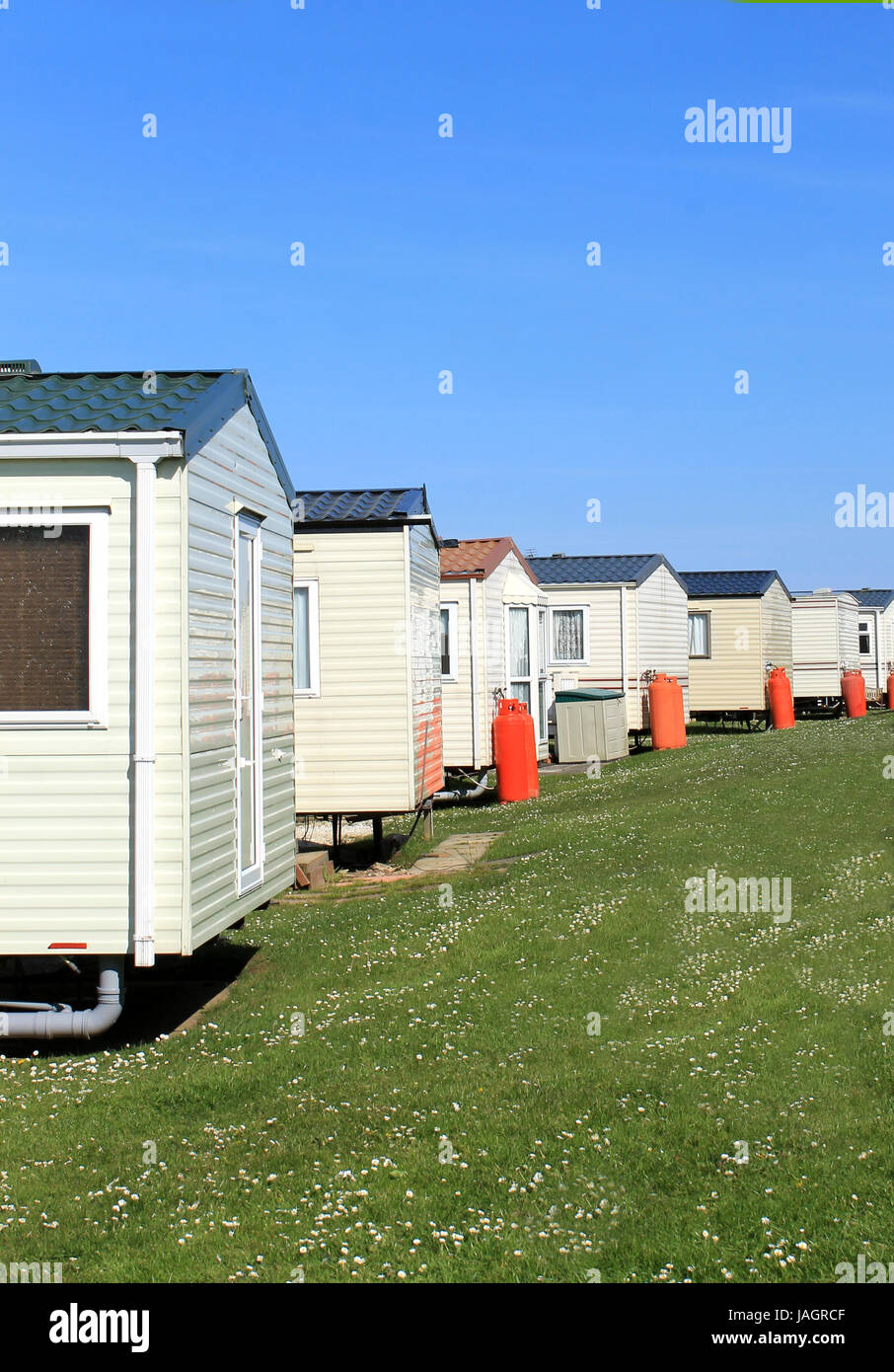 Blue Skies Mobile Home Park : skies, mobile, Scenic, Caravans, Trailer, Stock, Photo, Alamy