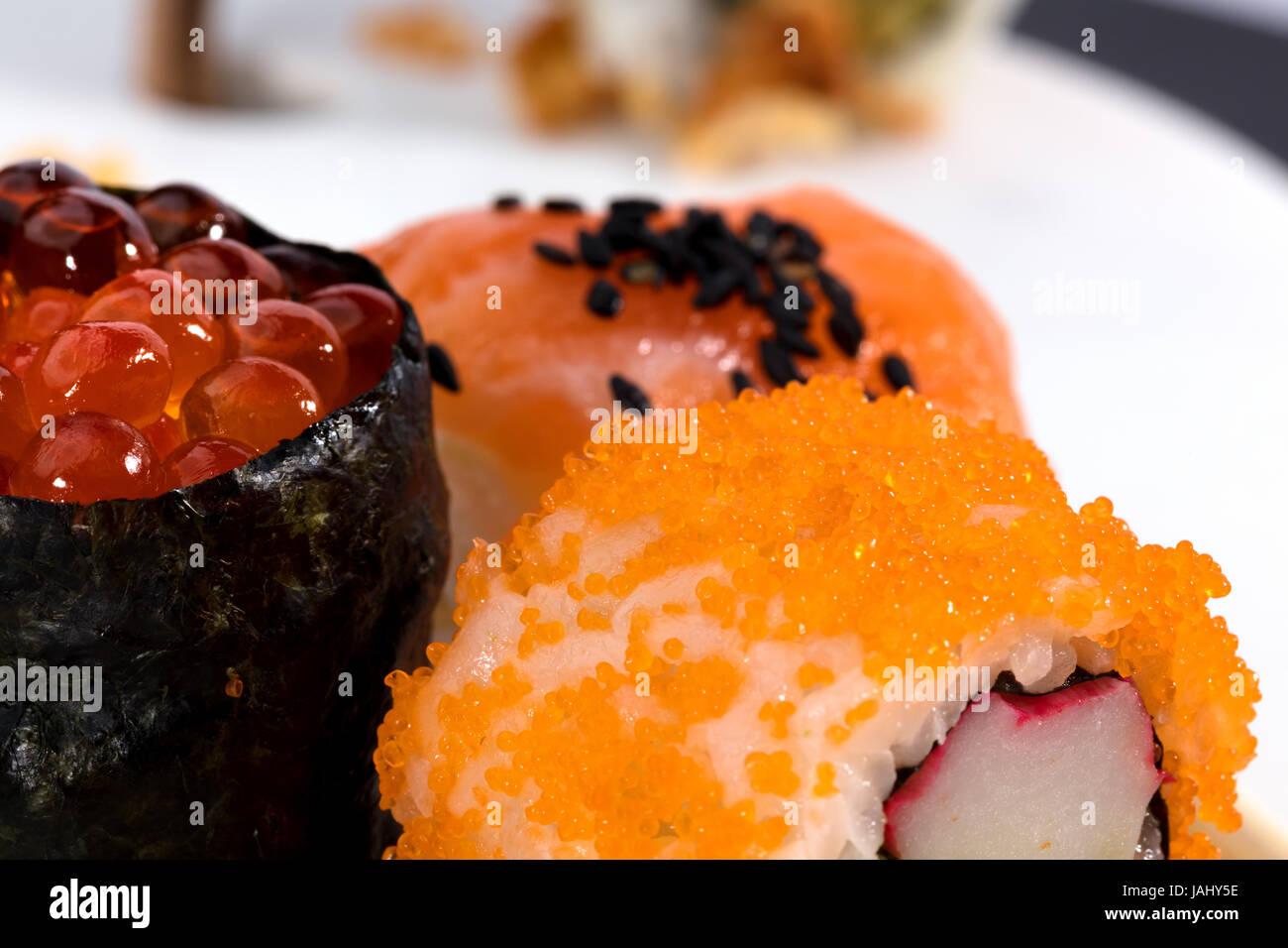 sushi pieces macro photography