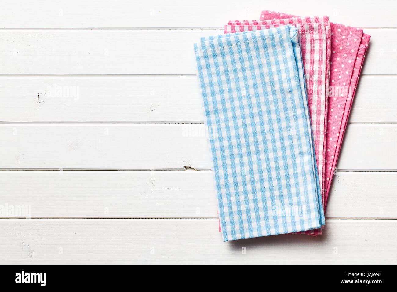 kitchen napkins small island for top view of colorful on white wooden background
