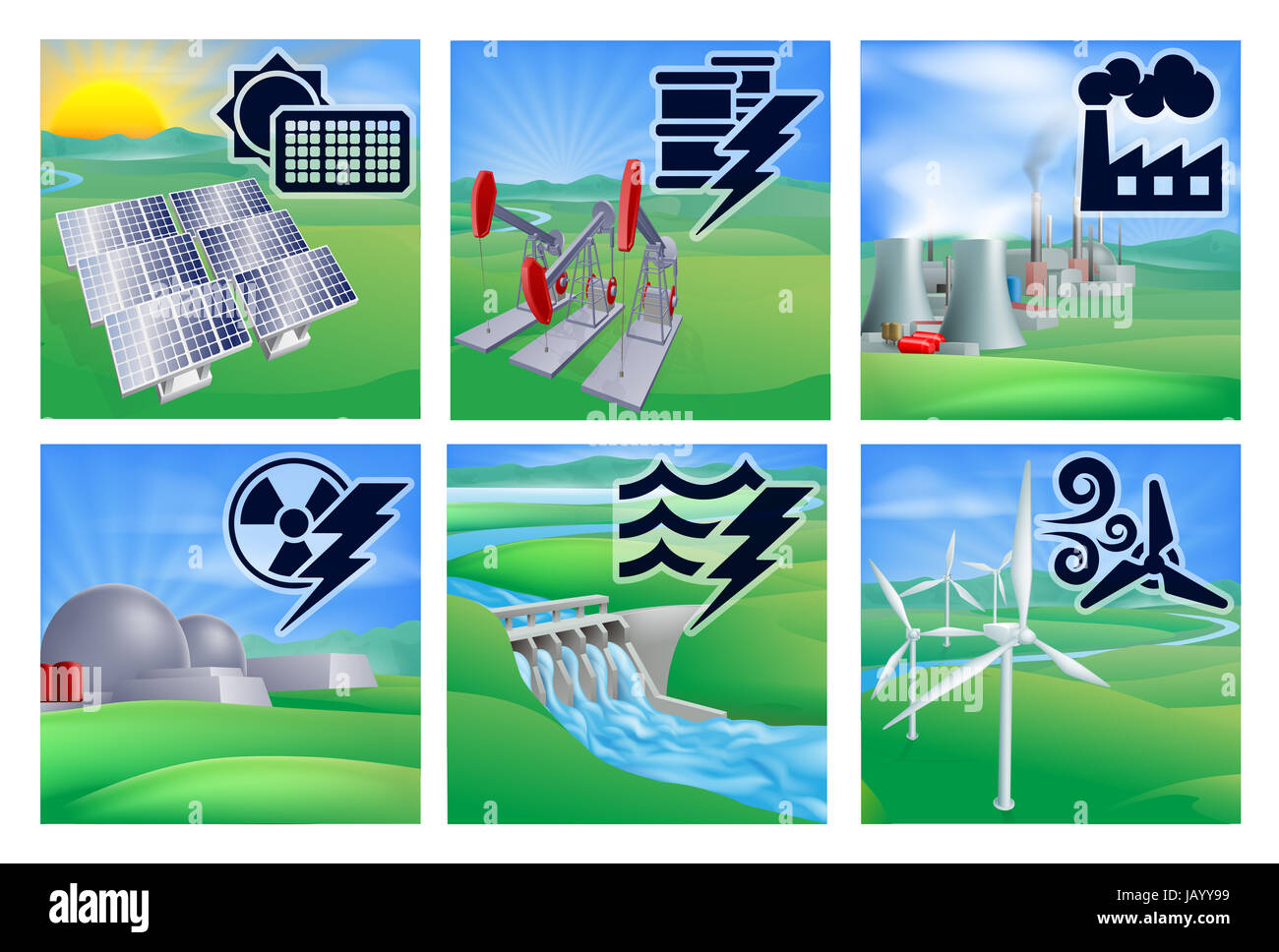 Different Types Of Power Or Energy Generation With Icons