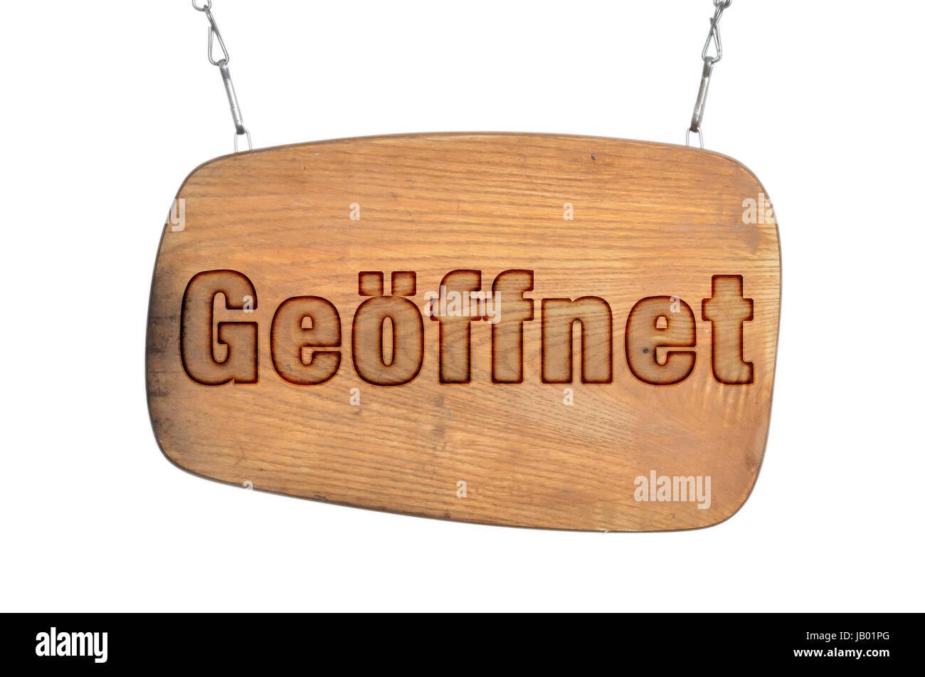 Geöffnet Holz Schild Offen Türschild Stock Photo: 144445576 - Alamy
