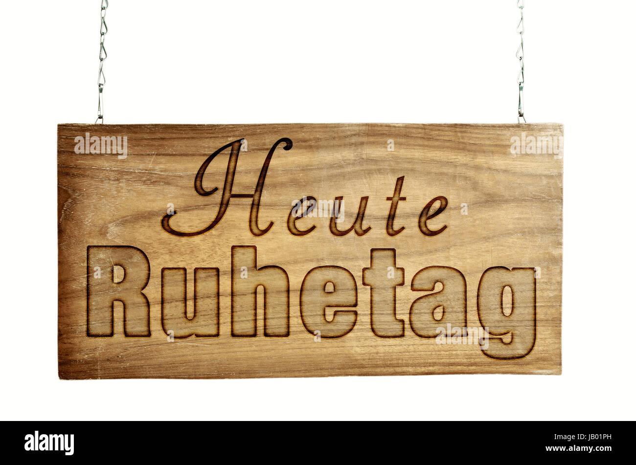 Ruhetag Türschild Aus Holz Hängt Kette Stock Photo: 144445577 - Alamy