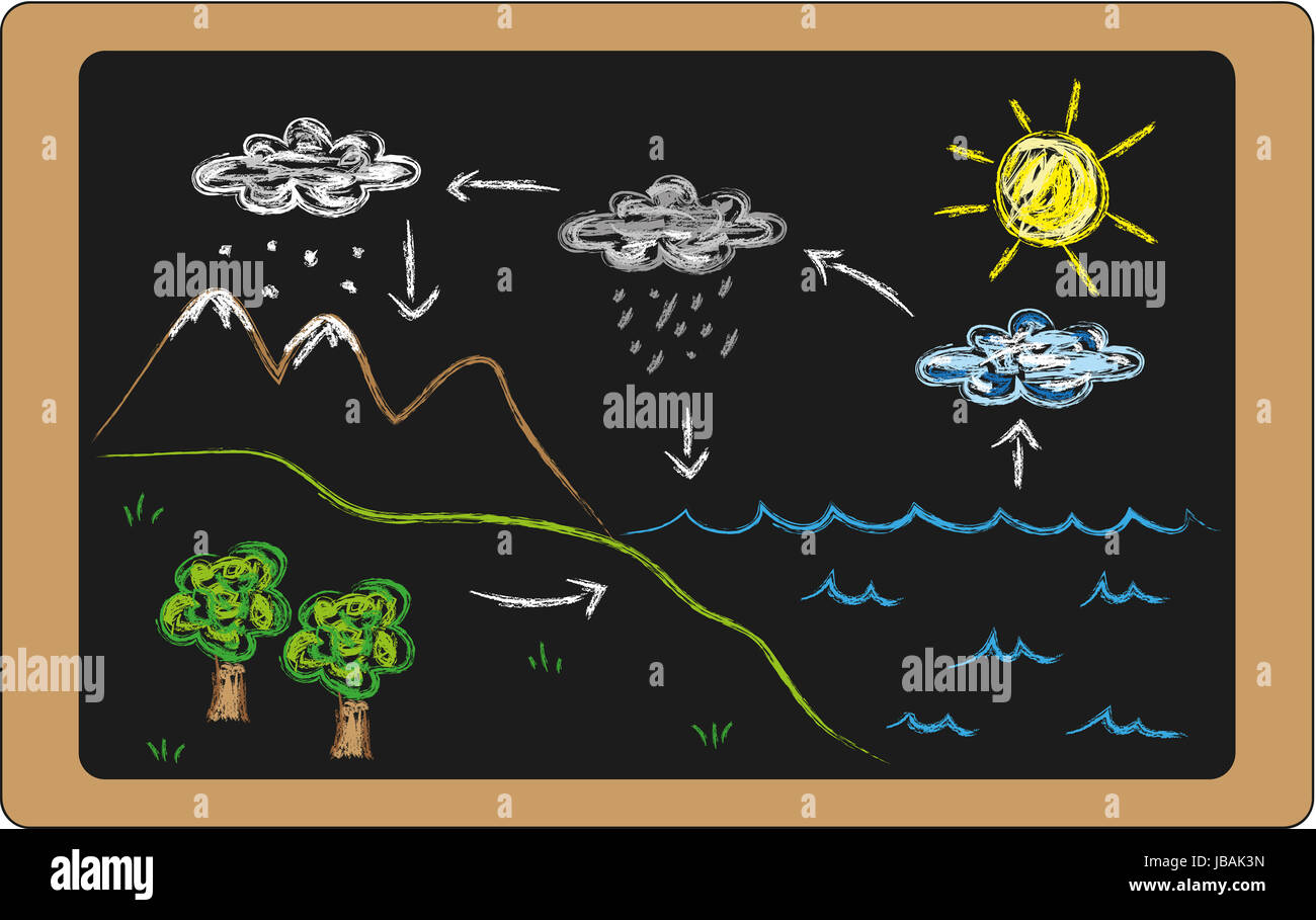 hight resolution of illustration of water cycle on blackboard