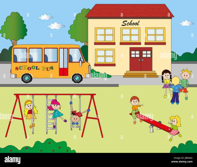 Illustration Of School With Children In Playground Stock Photo