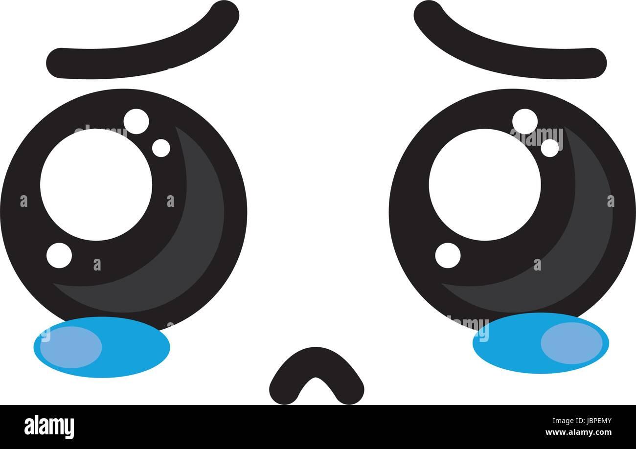 Cute Kawaii Cry Face And Sad Stock Vector Image Art Alamy
