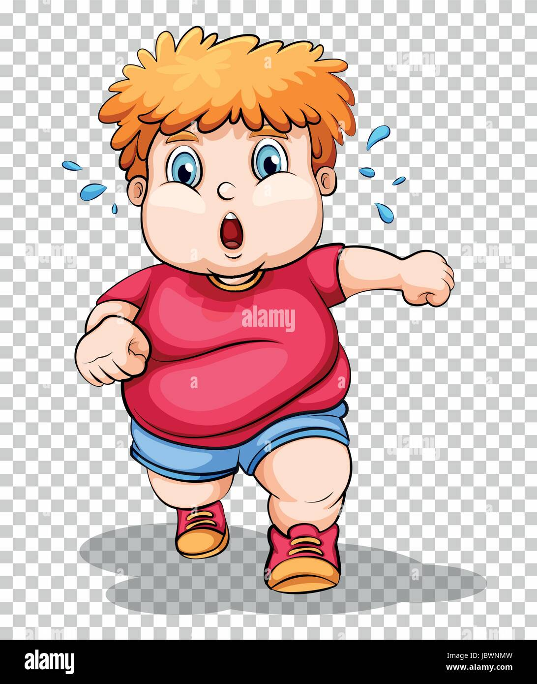 hight resolution of fat boy running on transparent background illustration stock vector