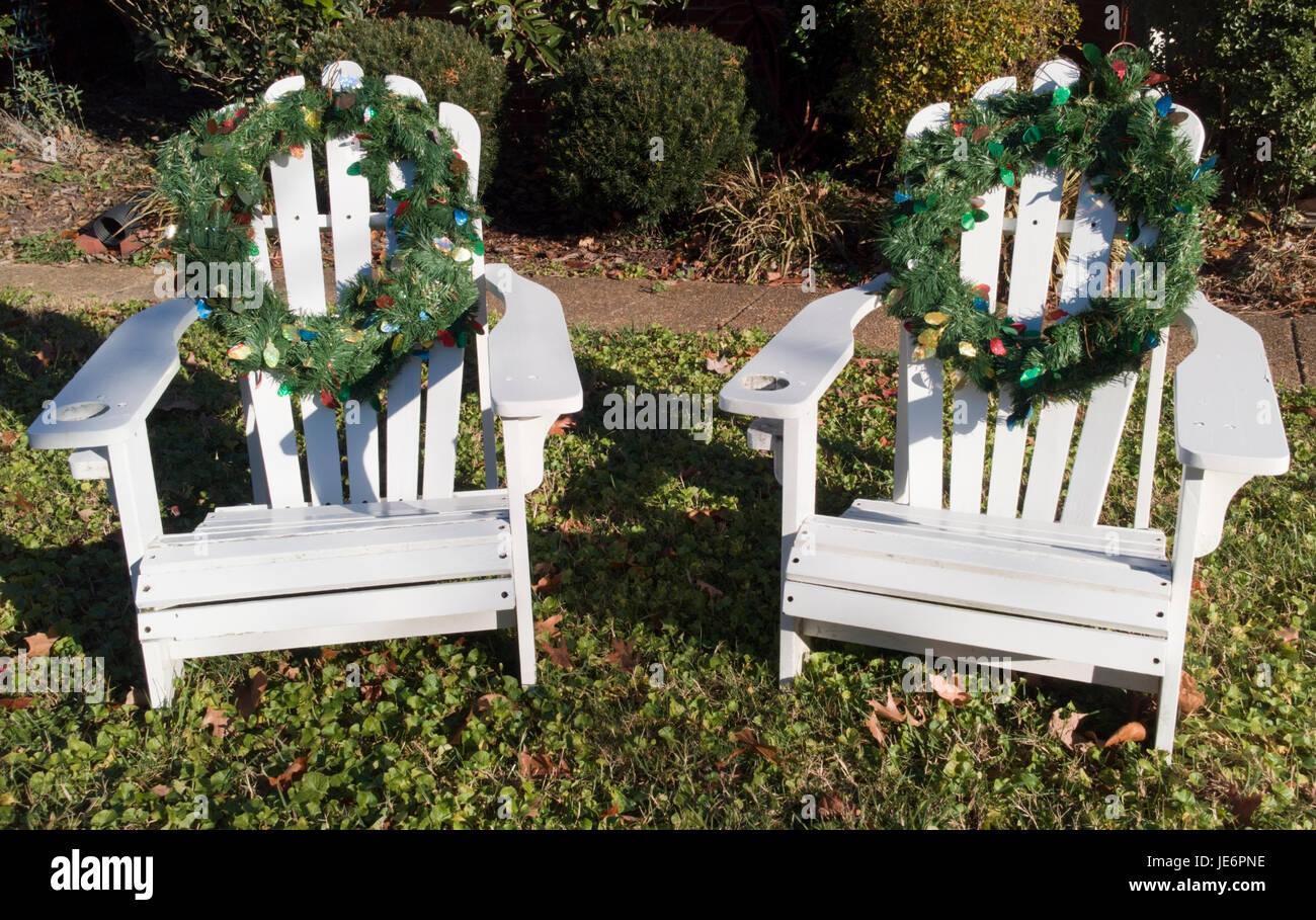 merry garden adirondack chair walmart directors front lawn christmas stock photos and
