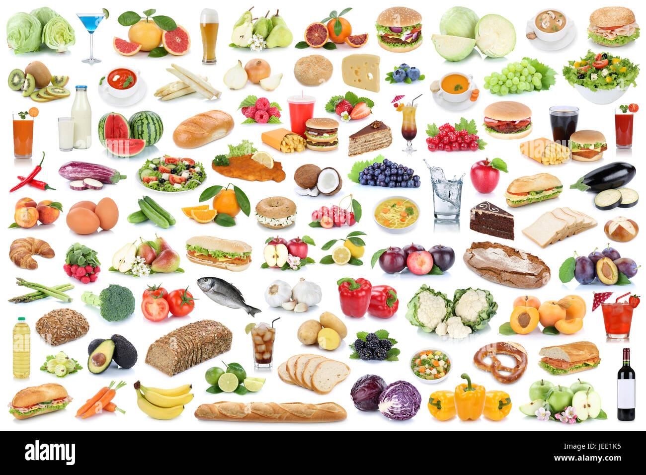 Food And Drink Collection Collage Healthy Eating Fruits