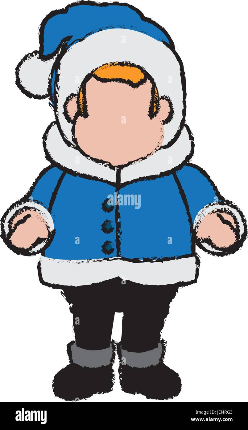 hight resolution of character man carols singer at a winter clothes stock vector