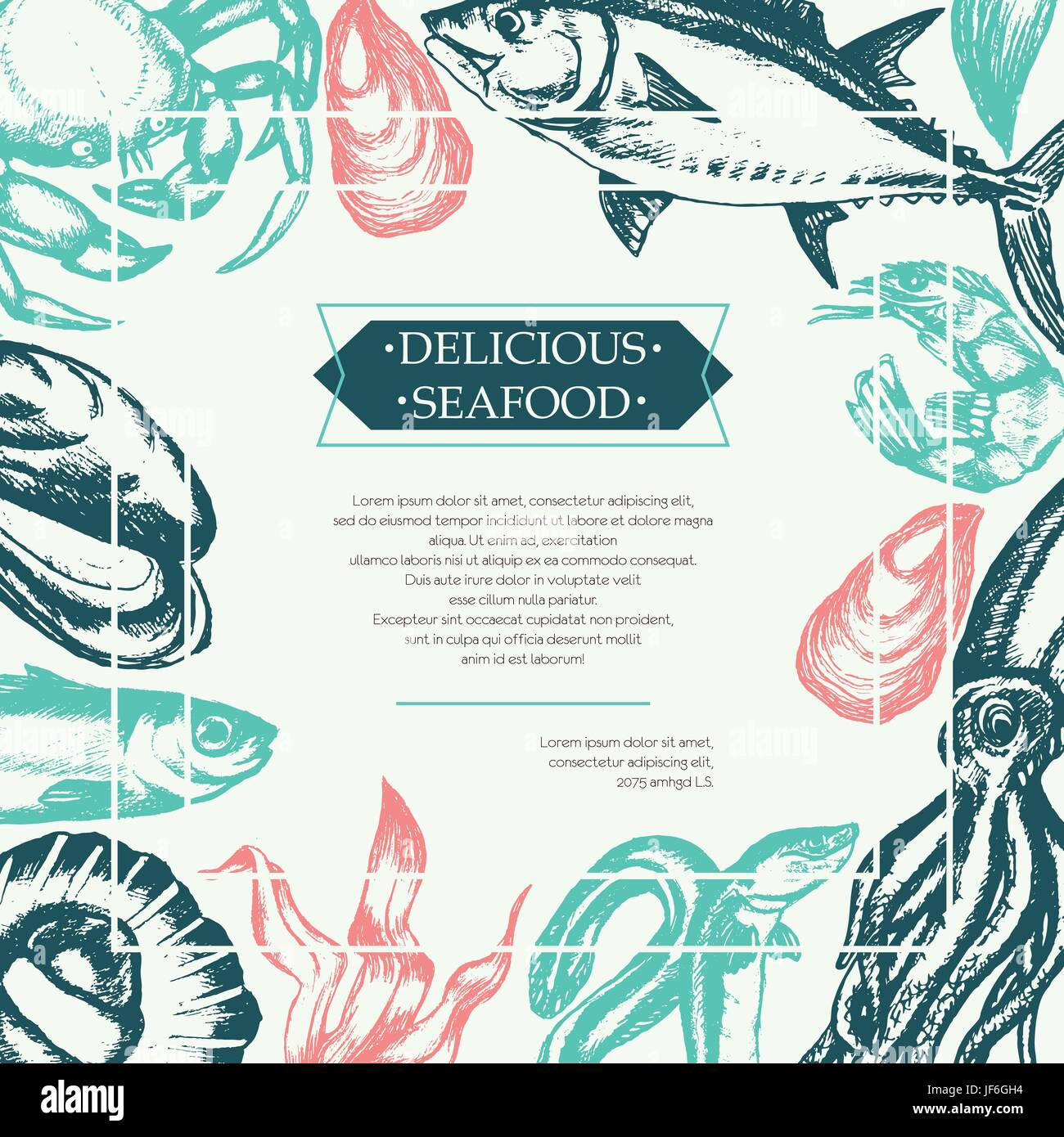 Delicious Seafood - Color Vector Hand Drawn Vintage Postcard Template With  Copy Space For Your Text. Realistic Alga, Seaweed, Squid, Crab, Shrimp, Mus