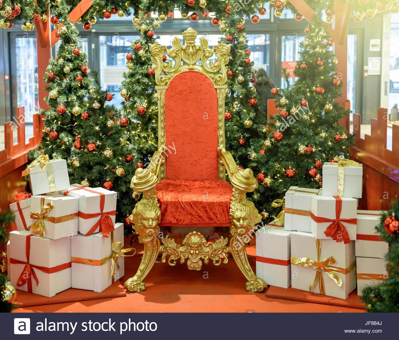 santa claus chair squirrel feeder luxurious red throne stock photo