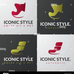 Modern Armchair Design Vintage Wishbone Chair Set Of Furniture Logo Templates Concepts Lounge Iconic Sign