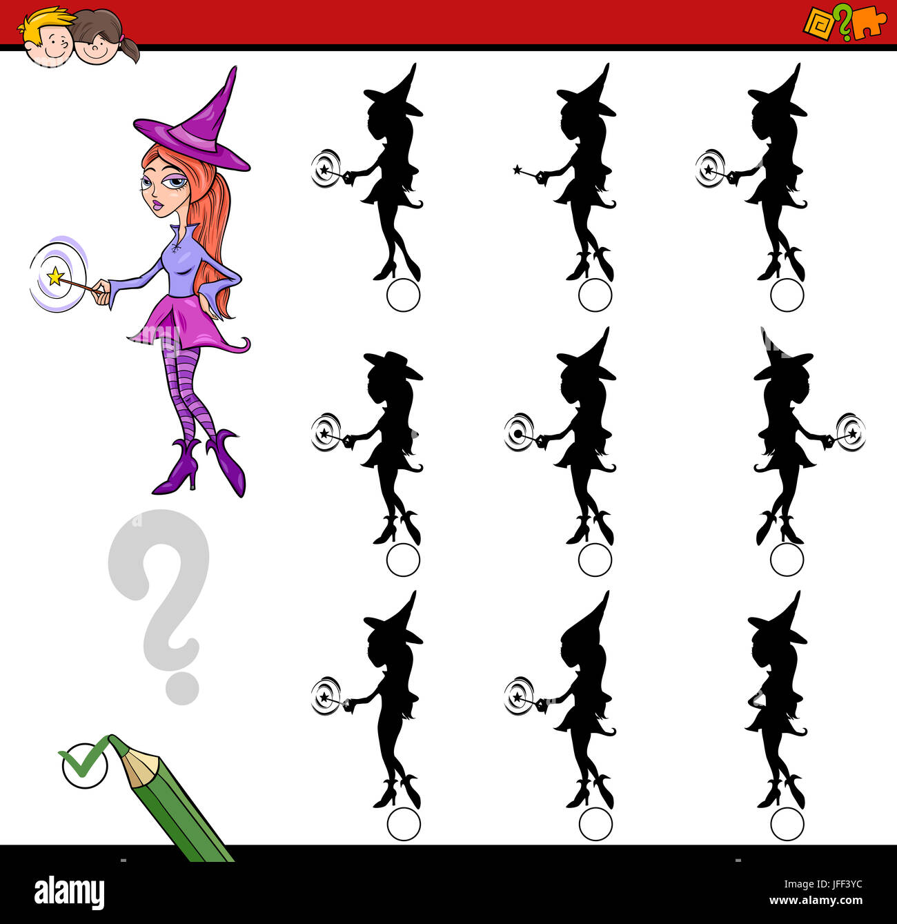 Shadow Differences Worksheet Stock Photo