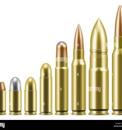 line of various bullets cartridges for guns and rifles stock image [ 1300 x 1148 Pixel ]