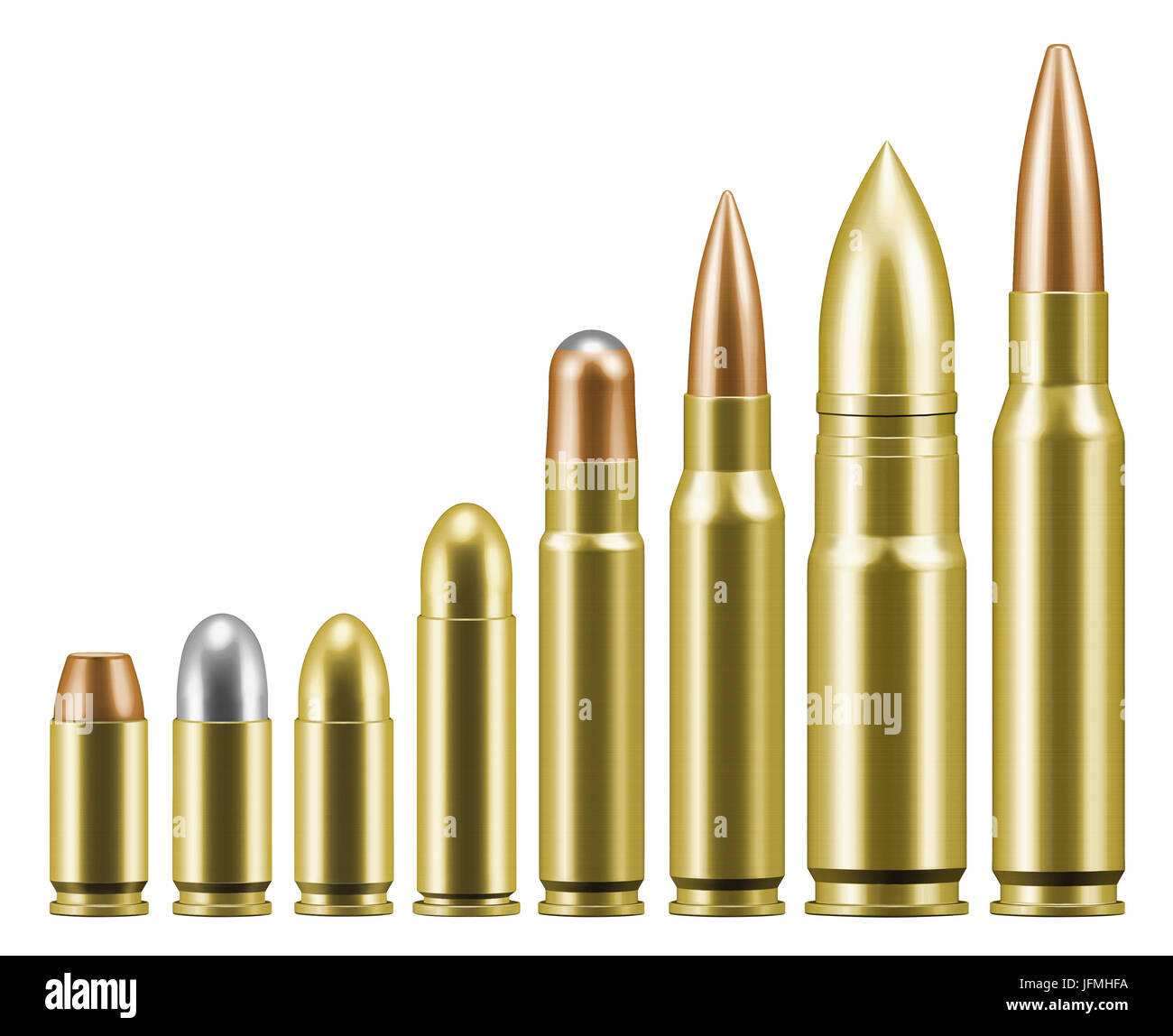 hight resolution of line of various bullets cartridges for guns and rifles stock image