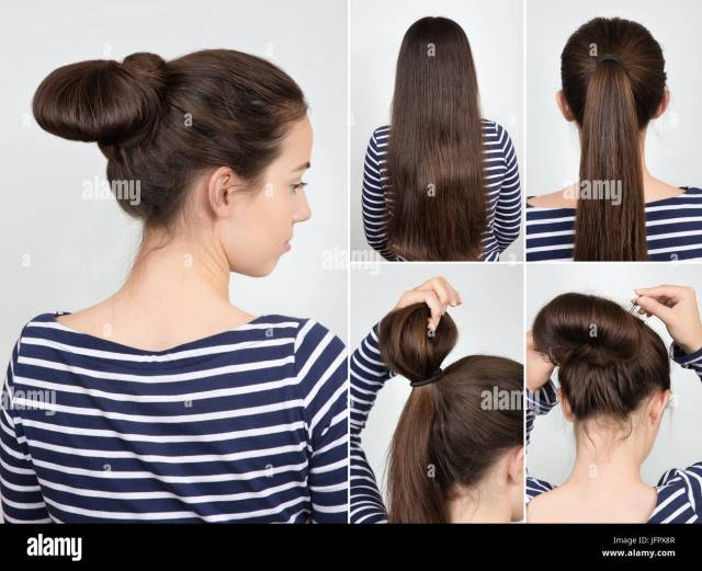 easy hairstyle twisted bun for self. casual hairstyle