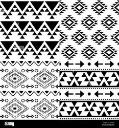 aztec navajo pattern vector tribal modello wit patroon ontwerp azteekse achtergrond zwart als het azteco vettore progettazione raccolta insieme tribale