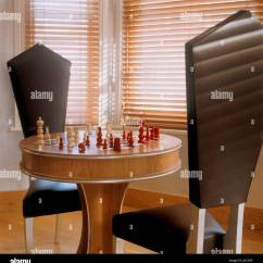 Chess Table And Chairs Faux Bamboo Australia With Black Stock Photo 147799058 Alamy
