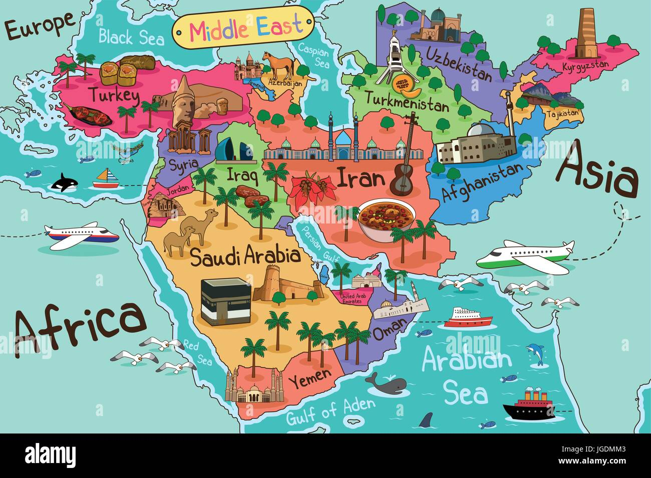 A Vector Illustration Of Middle East Countries Map In