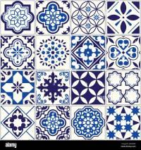 Vector tile pattern, Lisbon floral mosaic, Mediterranean ...