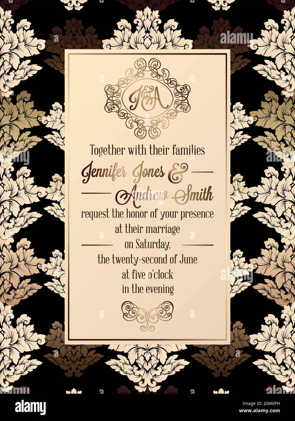 https www alamy com stock photo vintage baroque style wedding invitation card template elegant formal 147957113 html