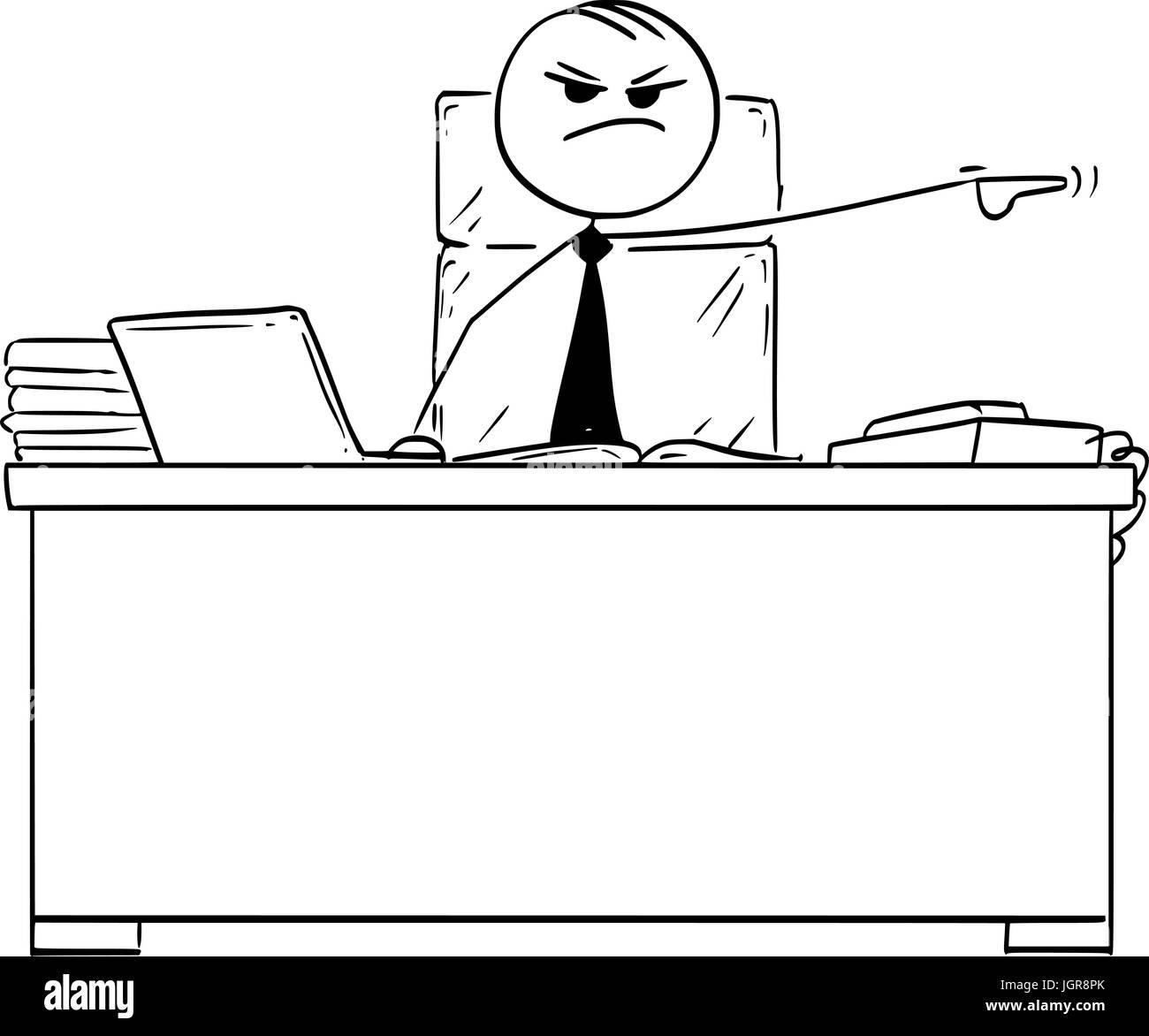 Cartoon vector stick man stickman drawing of boss behind