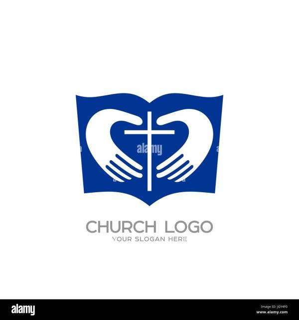 Church Logo. Christian Symbols. Bible Hands Forming