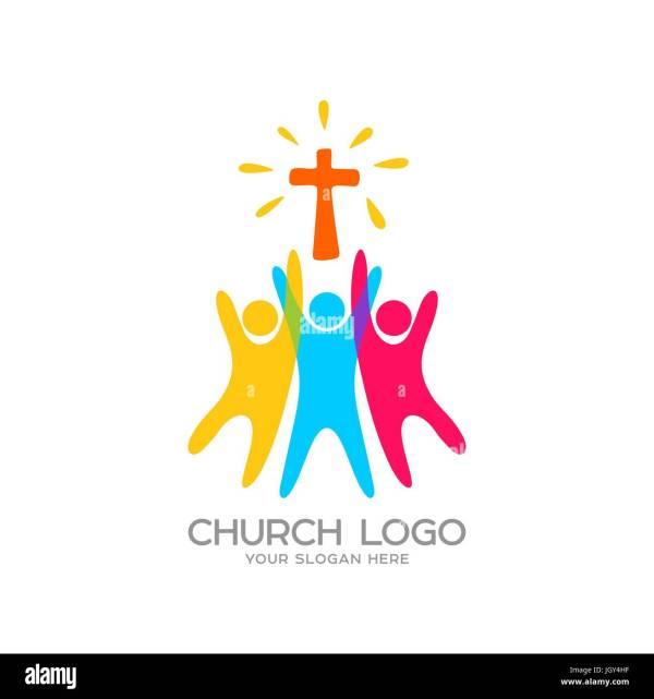 Church Logo. Christian Symbols. People Worship Lord