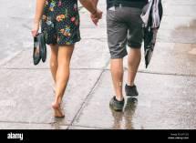Barefoot Women Walking Street
