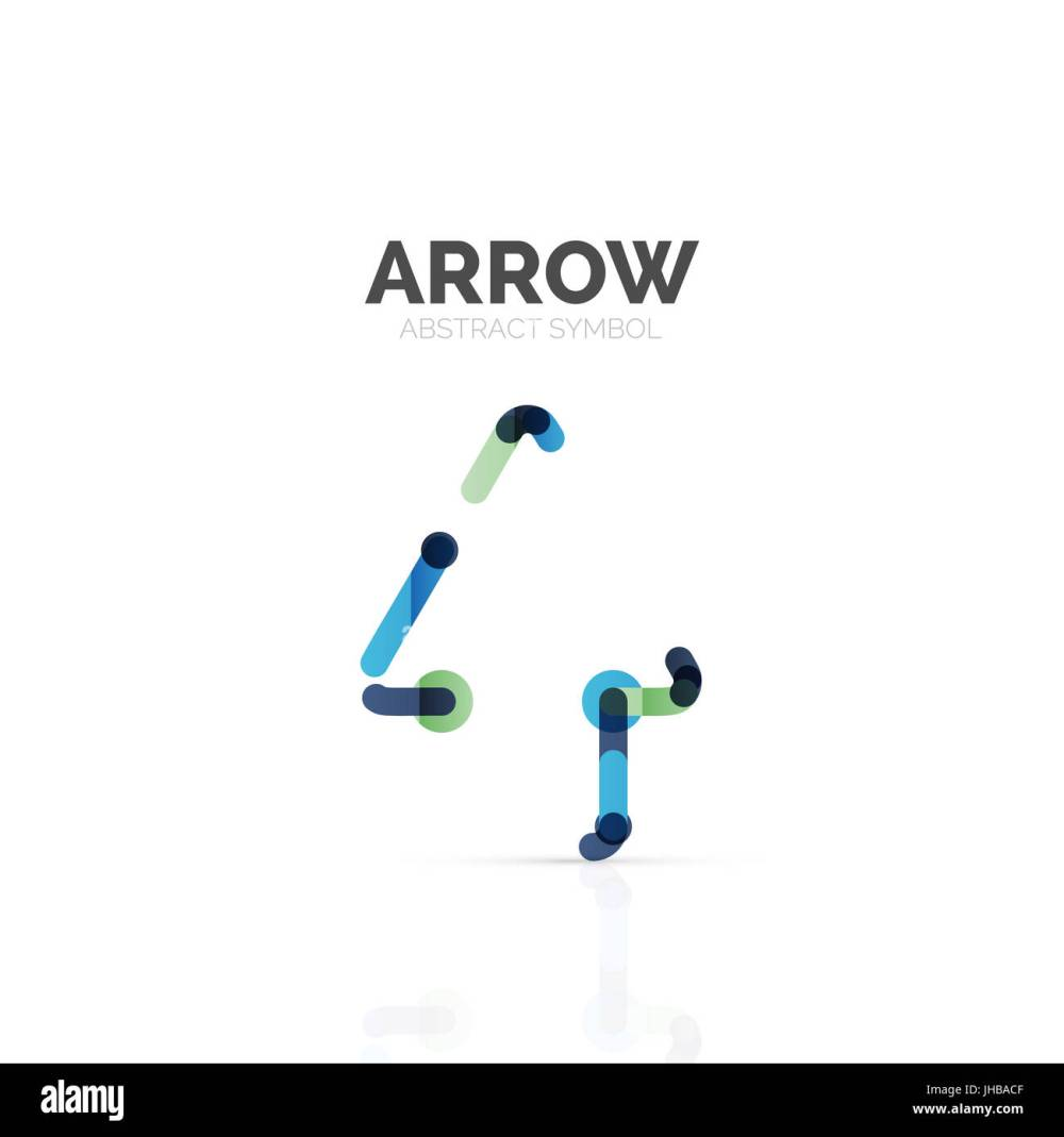 medium resolution of linear arrow abstract logo connected multicolored segments of lines in directional pointer figure wire business icon isolated on white