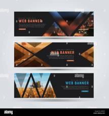 Design Of Black Horizontal Web Banners. Templates