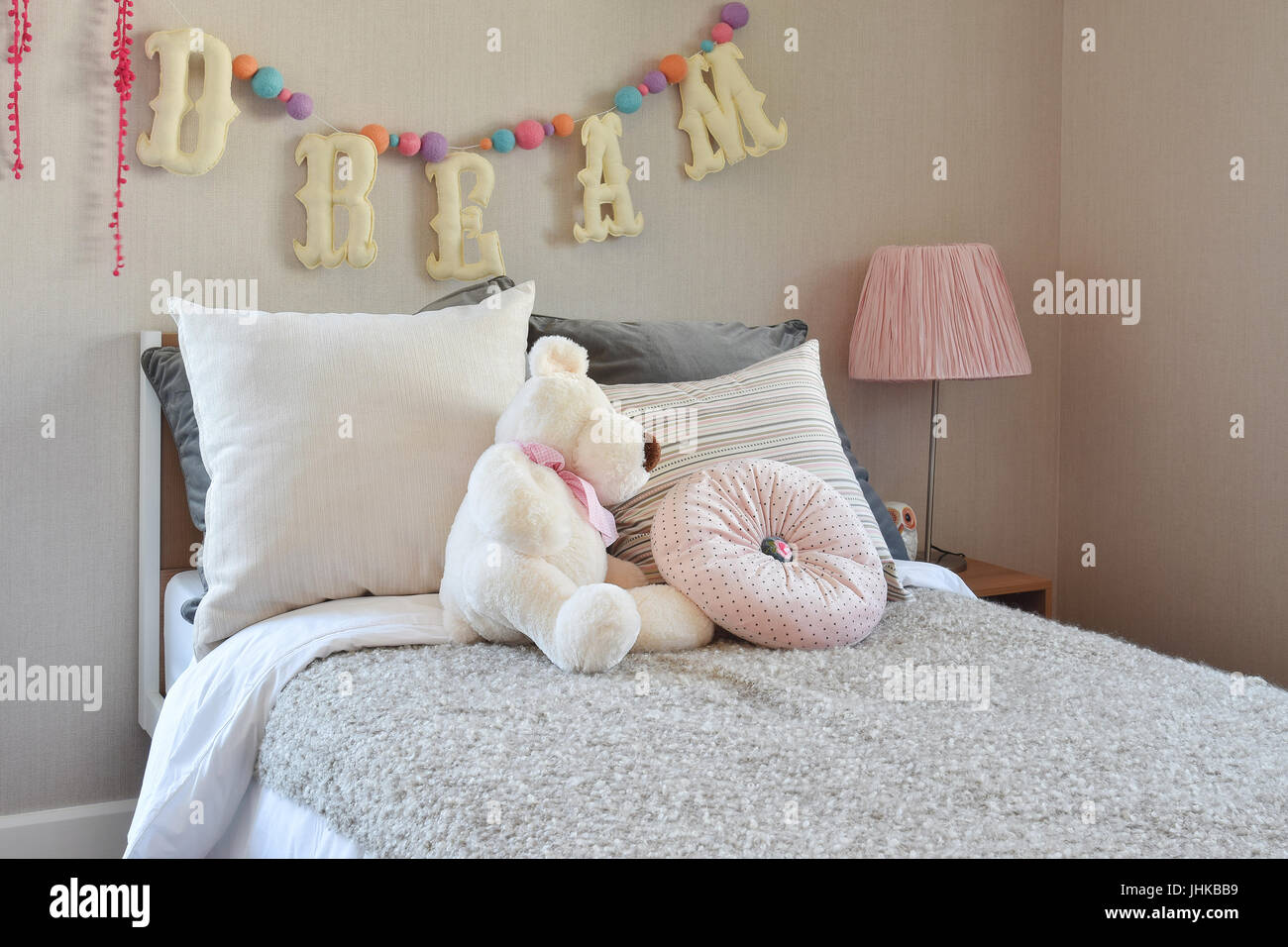 https www alamy com stock photo modern kids room with doll and pillows on bed 148558125 html
