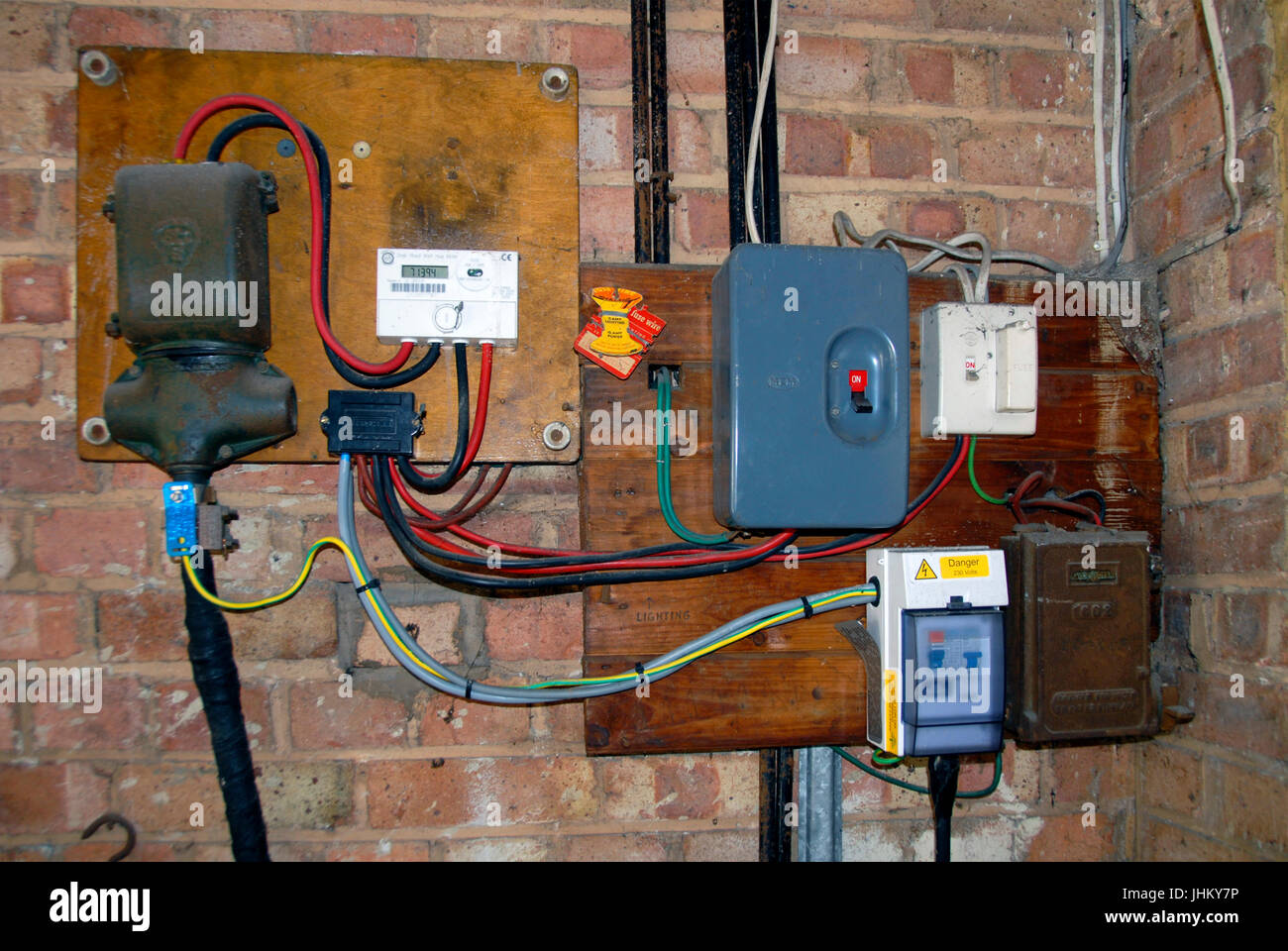 hight resolution of domestic electricity supply distribution board stock image