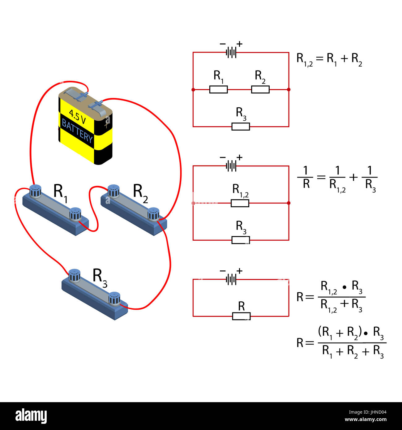 hight resolution of representation of the step by step simplification of the electrical circuit and the formula for calculating the resistance in parallel and serial conn