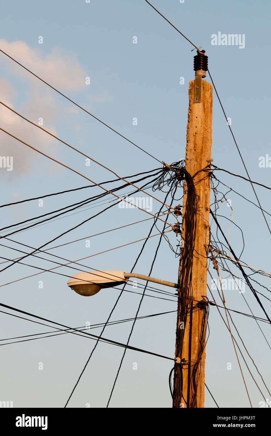 hight resolution of electrical wiring on power pole in cuba stock image