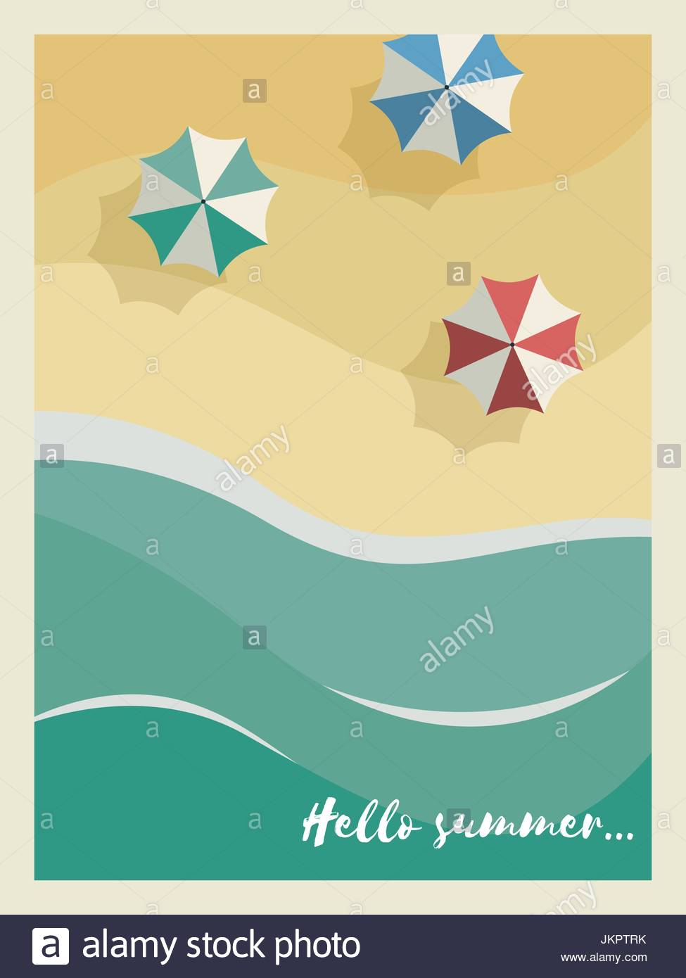 Summer Holiday Or Party Poster Or Postcard Template With Sunny Sandy Beach,  Sea With Waves And Umbrellas With Vintage Frame And Typography. Eps10 Vect