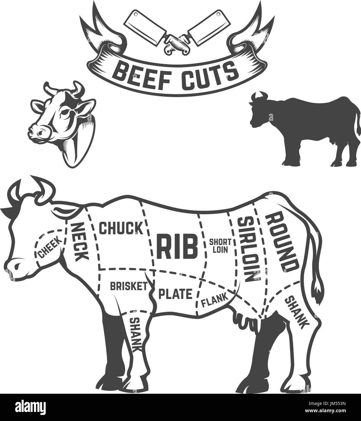 hight resolution of beef cuts butcher diagram cow illustrations on white background design elements for poster