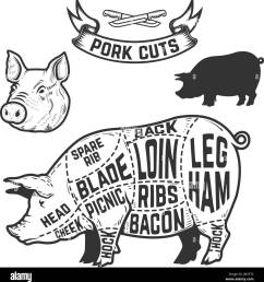 pork cuts butcher diagram design element for poster menu vector illustration [ 1266 x 1390 Pixel ]
