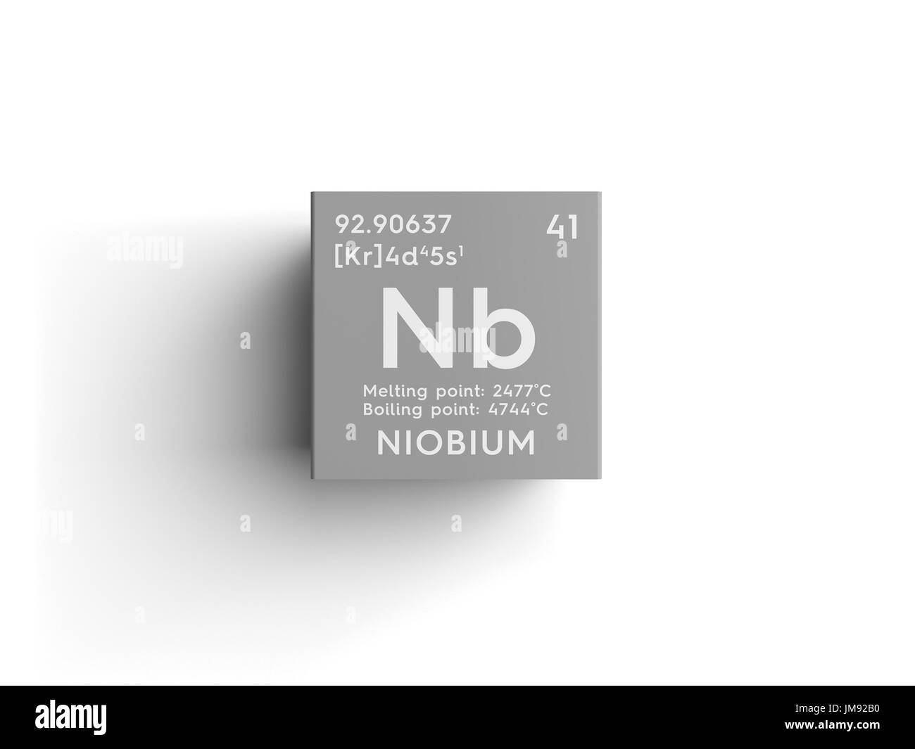 hight resolution of transition metals chemical element of mendeleev s periodic table niobium in square cube creative concept