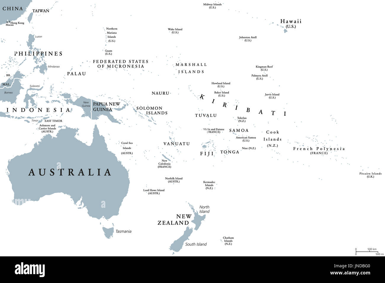 Oceania Political Map With Countries English Labeling Region Stock Photo