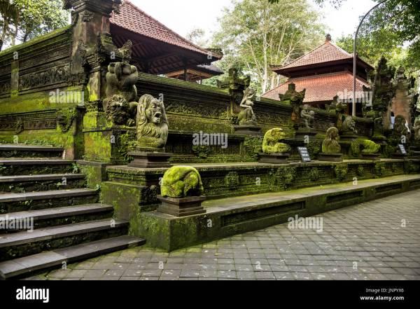 Sculpture Monkey Forest Park Bali Stock &