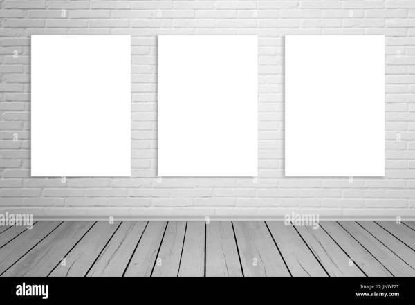 Three Isolated Art Canvas Brick Wall Mockup. Empty Stock 151151360 - Alamy