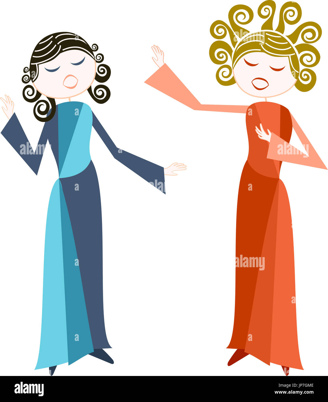 hight resolution of two women sings with passion opera or other more classical style stock image