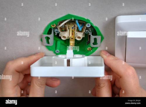small resolution of installing the wall outlet into a wiring box close up hands of an electrician