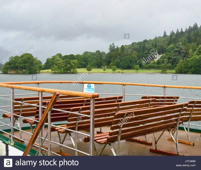 On Top Deck On A Trip Boat On Lake Windermere In The Lake District Cumbria England Uk In Pouring Rain Summer 2017