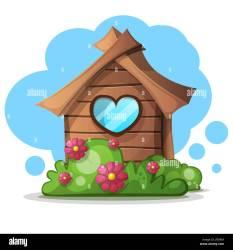 Wood cartoon house bush Bush and flower icon Stock Vector Image & Art Alamy