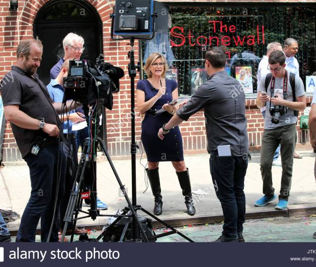 Ashleigh Banfield Canadian American Journalist Ashleigh Banfield Reports Outside The Stonewall Inn For Gay Pride Week In New York City On June