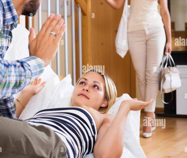 Love Triangle Husband Unhappy Wife And Upset Lover At Home Interior